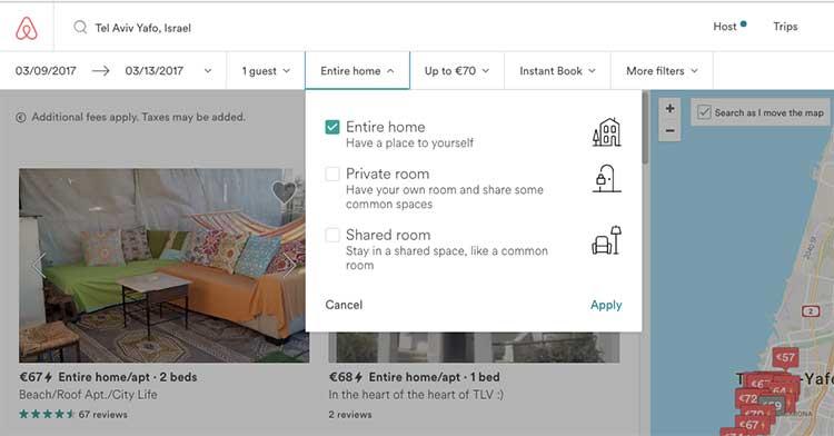 Apartamento compartilhado no Airbnb