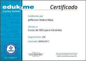 EduK - Certificado do Curso de SEO