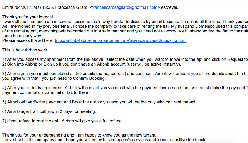 Exemplo de fraude por email no aluguel de apartamentos