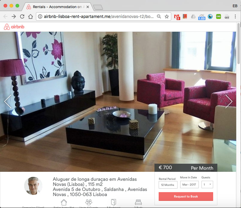 Site falso do airbnb para golpe online