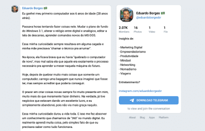 Grupo Telegram do Eduardo Borges